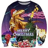 Goodstoworld Maglione Natale Tema Dinosauro Uomo Donna 3D Maglioncini Felpe Senza Cappuccio Funny Christmas Elf Animali Stampato Pullover T-Shirt
