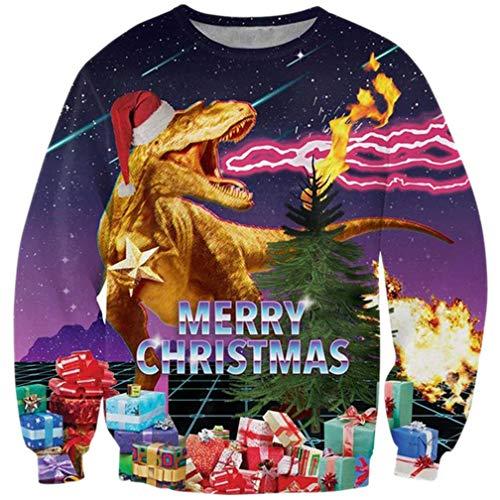 Goodstoworld Dinosaurier Weihnachtspullover 3D Damen Herren Ugly Christmas Sweater Dinosaur Weihnachten Pullover Lustig T-Shirt M