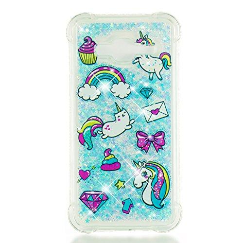 Phcases Cover del Telefono per Samsung Galaxy J3/J3/J310 Trasparente con Glitter Serie Blingbling Custodia Antiurto TPU con Decorazioni Galleggianti.