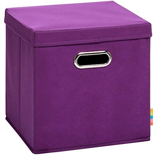 Schmetsdorf (H&S) Aufbewahrungsbox MIA mit Deckel - Faltbox - Korb - 28x28x28 cm - (Brombeere)