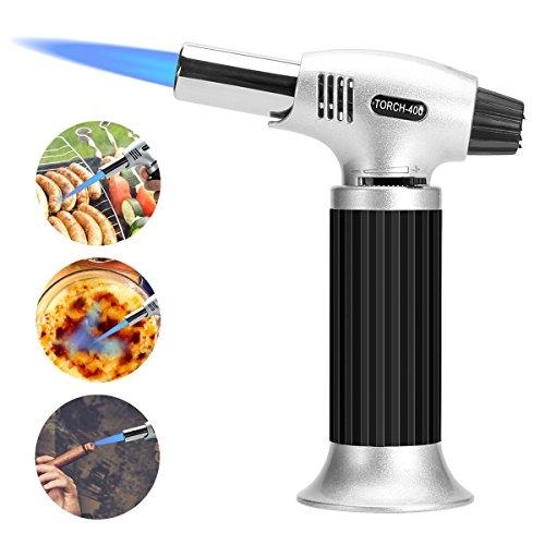 Damitech Küchenbrenner Flambierbrenner für Creme Brulee Professioneller Butangasbrenner Home Küche-Schwarz bis zu 1300°C/2500 °F (Silver)