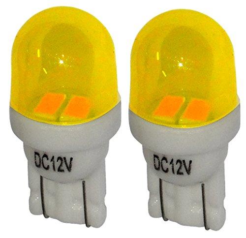 Aerzetix: 2x ampoule T10 W5W 12V 2LED SMD jaune éclairage intérieur plaque d'immatriculation seuils de porte plafonnier pieds lecteur de carte coffre compartiment moteur