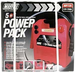 Maypole 738 USB Light Power Pack Compressor, 12 V, 20 Ah, 120 Psi