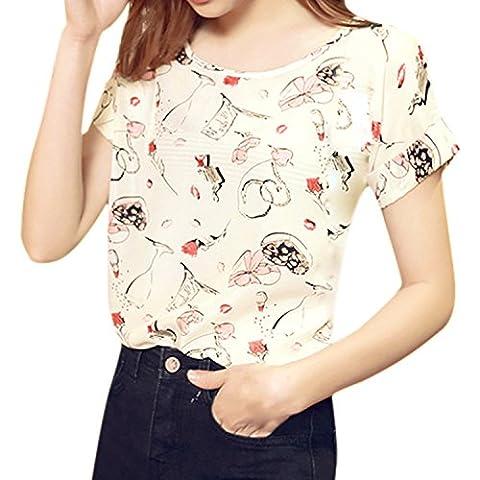 LAEMILIA Women's Print Short Sleeve Chiffon Tops T-shirt Blouse Lady Loose Summer Round Neck Shirt