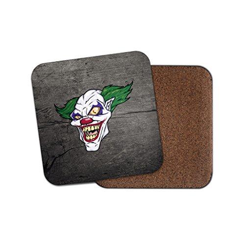 Evil Clown Joker Scary Halloween Getränke Untersetzer mit Unterseite aus Kork für Tee & Kaffee # 4076, holz, 4 ()