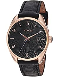 Nixon Bullet Leather 38 mm womens watches A473-1098 - Rose Gold / Black