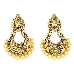 Ethnic earrings for girls best fancy party wear gold plated kundan earrings with pearl drop