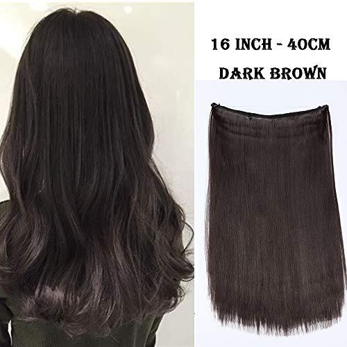 Extension con filo invisibile capelli lunghi lisci castani 40cm 16