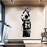 Waofe Abnehmbare Wallpaper Nba Kobe Wandaufkleber Basketball Poster Vinyl Room Decor Sport Mann Wandtattoos Schwarz Mamba 42 * 124 Cm