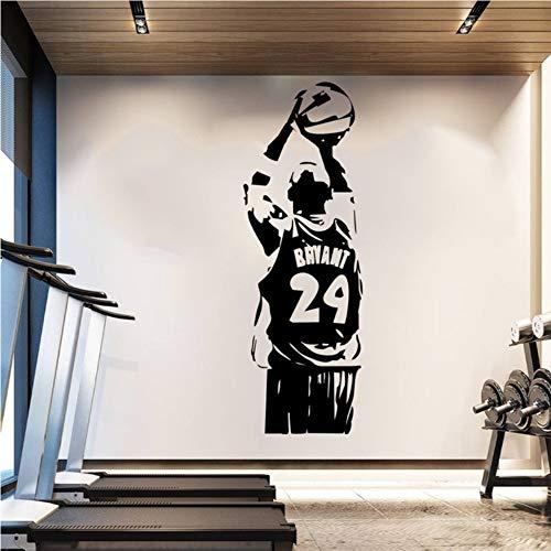Waofe Abnehmbare Wallpaper Nba Kobe Wandaufkleber Basketball Poster Vinyl Room Decor Sport Mann Wandtattoos Schwarz Mamba 42 * 124 Cm -