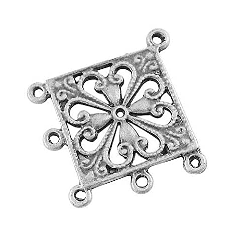 Pandahall 10 pcs Antique Silver Tibetan Style Rhombus Chandelier Component Links for Dangle Earring Making