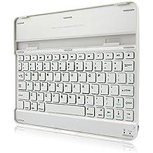 Teclado Bluetooth Inalámbrico Ultrafino con Caja Protectora de Aluminio Soporte para iPad 2 3 4 - Blanco