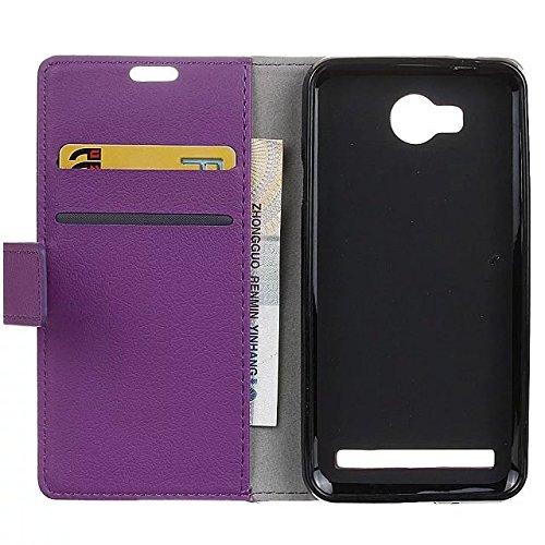 Solid Color Kas Textur Muster Leder Schutzhülle Case Horizontal Flip Standplatz Fall mit Kartennuten für Huawei Y3 2 GEN ( Color : Pink , Size : Huawei Y3 2 GEN ) Purple