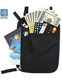 BlueBeach® Viajar Portadocumentos de Cuello Bolsa Bloqueo RFID antirrobo Billetera Caso Tarjeta de Crédito ID Pasaporte Protector Soporte Seguro