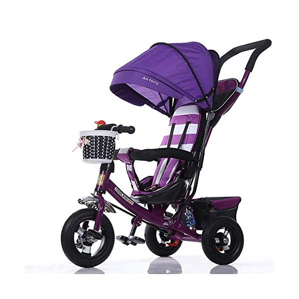 GHDE& 3-in-1 Childrens Tricycle Kids Trike for Children with Sun Canopy, Back Storage and Removable Parent Handle,B  3 IN 1 TRIKE: This is a growing with your child innovative kid trike, it follows with your baby's growing up and can be a baby bike, baby walker, or trike with parent pushing rod and canopy. Very Practical: Built with the sturdy aluminum alloy frame in superior strength, Non-slip handle with bell for best touch and added fun in riding, Anti-slip pedals make driving safer, foot brake, stop any time, back storage bin and front basket for storing child's essentials. Comfort for Kids: The large and retractable canopy provides ample shade, comfortable backrest and folding footrest to provide maximum comfort to your children. 5-point safety belts and safety fence ensure more safety for your baby. 1