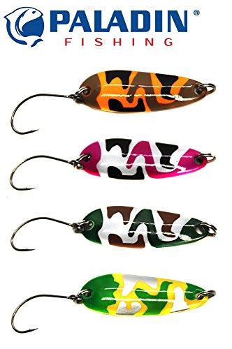 4 Paladin Trout Spoons 3,5cm 3,6g - Forellenblinker Set zum Spinnfischen auf Forellen & Barsche, Blinker zum Forellenangeln, Spoonblinker