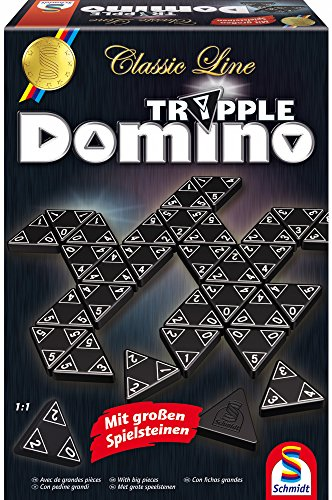 Schmidt Spiele SSP49287 Classic Line, Tripple Domino, mit großen Spielsteinen, bunt, 0.75 l