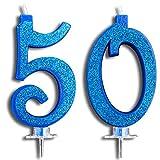 Party & Co. Candeline per Torta 50 Anni Festa di Compleanno o Anniversario Ideale Sia per Uomo Che per Donna - 12 CM Blu Glitter