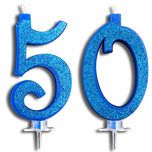 Party & Co. Kuchenkerzen 50 Jahre, Geburtstagsfeiern oder Jahrestag, ideal für Herren, für Damen und Herren, 12 cm, Blau, Glitzer (50-geburtstag-dekorationen Ihr Für)