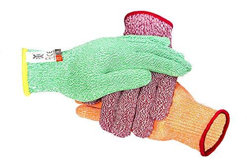 3 Farbe schnittfeste Handschuhe rot für Fleisch, grün für Veg, gelb für Obst - Food Grade Nr. Cross Contam, passt für beide Hände, Größe groß, (Size : XL(10.24IN))