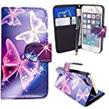 MobileConnect4U® Printed PU Leather Wallet/Flip/Stand Case For iPhone 5/5S and iPhone SE. Blue and Pink Butterfly/Pink