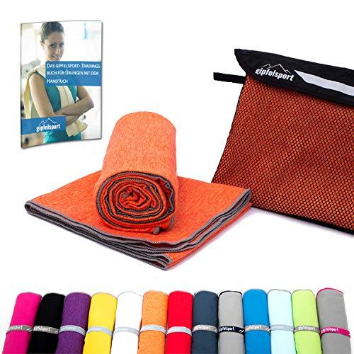 Mikrofaser Handtuch Set - Microfaser Handtücher für Sauna, Fitness, Sport I Strandtuch, Sporthandtuch I Set1 1x S(80x40cm) & 1x L(140x70cm) I Orange