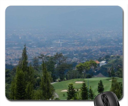 Bandung city from a golf course, north hills Mouse Pad, Mousepad (Fields Mouse Pad) (Course City Golf)