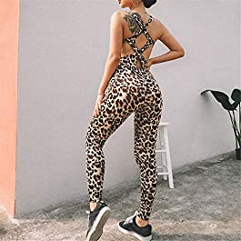 ZYUEER Pantaloni Stretti da Yoga da Running da Donna con Stampa Sportiva Leopardata