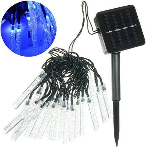 Luhuiyuan 20 ghiaccioli led fiaba stringa solare esterno giardino terrazza albero di natale festa matrimonio, blue
