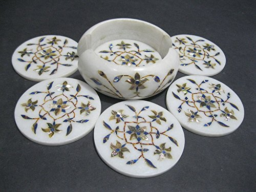 45-marble-coaster-set-of-6-pcs-semi-precious-stones-inlaid-pietra-dura-marquetry-work-elegant-royal-