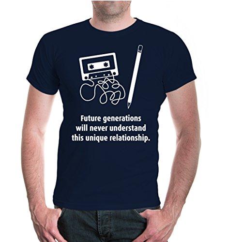 buXsbaum® T-Shirt Future generations will never understand Navy-White