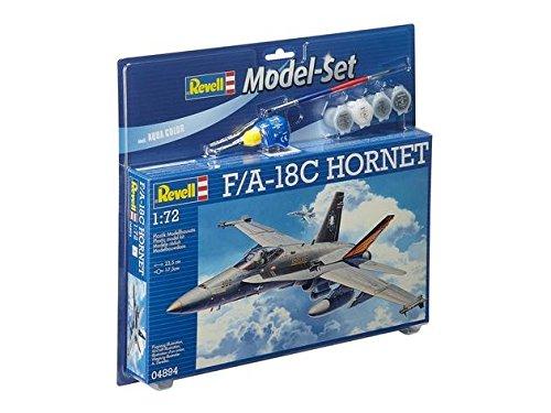 Revell Modellbausatz Flugzeug 1:72 - F/A-18C HORNET im Maßstab 1:72, Level 3, originalgetreue Nachbildung mit vielen Details, , Model Set mit Basiszubehör, 64894 (F18 Flugzeug)