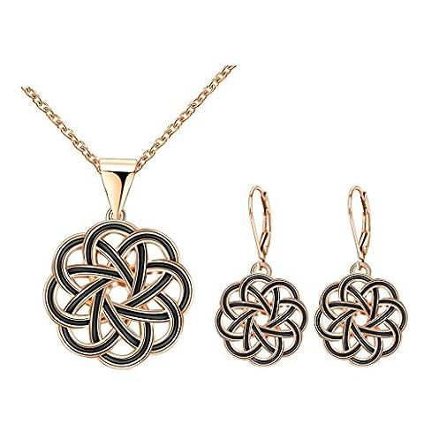 Epinki Vergoldet Damen Schmuck-set Halskette & Ohrringe Schwarz Blumen Knot Rose Gold (Amethyst Hängende Uhr)