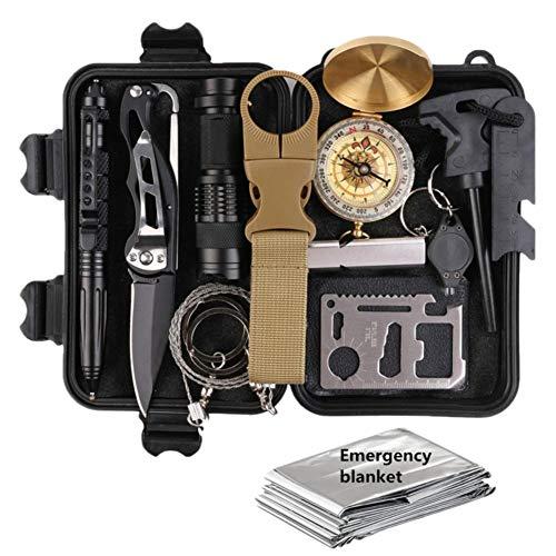 Hihey Kit di Sopravvivenza Set Camping And Travel Set di Emergenza con Coltello Pieghevole Dispositivo di avviamento al Fuoco Torcia elettrica Penna Tattica e Altri Accessori