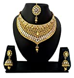 NMJ Gold Plated Artificial Kundan Jewellery Set For Women