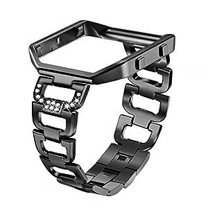 bayite Edelstahl Bänder mit Rahmen für Fitbit Blaze Strass Bling Ersatz Zubehör Straps Silber Schwarz Rose Gold