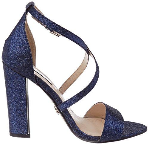 Quiz Blue Paillettes Peeptoe, Sandales Avec Bride À La Cheville Femme Bleu (bleu)
