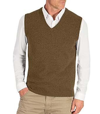 Wool Overs Pull sans manches homme en laine d'agneau Noisette XXL