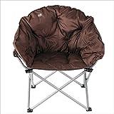 Klappstuhl XIAOYAN Sofa Stuhl aus Edelstahl + Hochwertiger Stoff Lounge Sessel Liege Braun