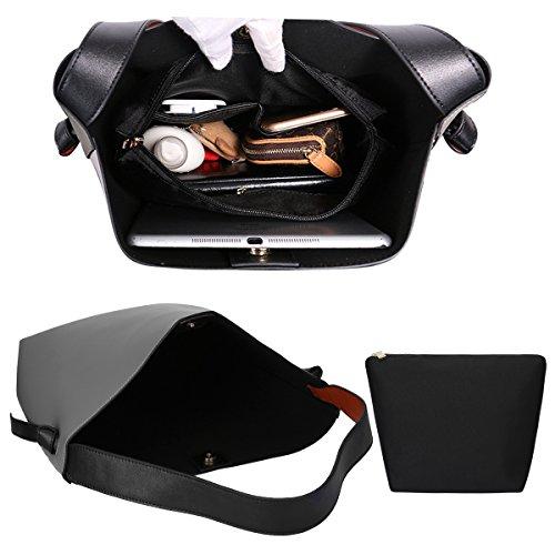 S-ZONE Sacchetto caldo delle borse della spalla del Tote di cuoio genuino di blocco di colore delle donne di Grigio-bianco