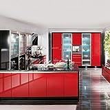 KINLO 5 * 0.61M Papier Peint Auto-Adhésif Rouge Armoire de Cuisine en PVC Imperméable Style Moderne Stickers Autocollant Muraux Étanche Décoration Chambre Salon Meuble