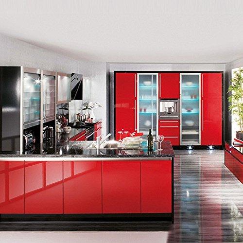 KINLO Adesivi carta per mobili 0.6M*5M(1 Rotolo) Rosso Nessuna colla ...