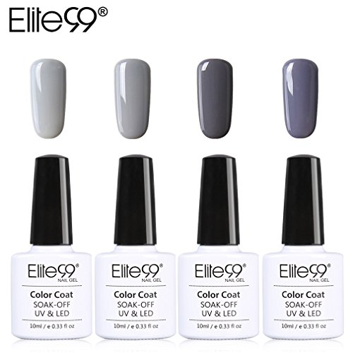 Lot Vernis Semi Permanent Elite99-4pcs Vernis à Ongles Gris UV LED Soak Off pour Kit Manucure&Nail Art 10ml-KIT05