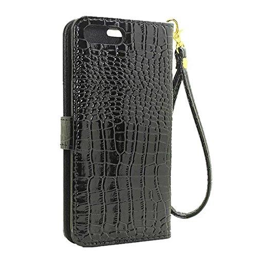 EKINHUI Case Cover Krokodil Pattern PU Ledertasche, Horizontale Flip Stand Folio Geldbörse Holster Case Cover mit Lanyard & Card Slots für iPhone 7 Plus ( Color : Green ) Black