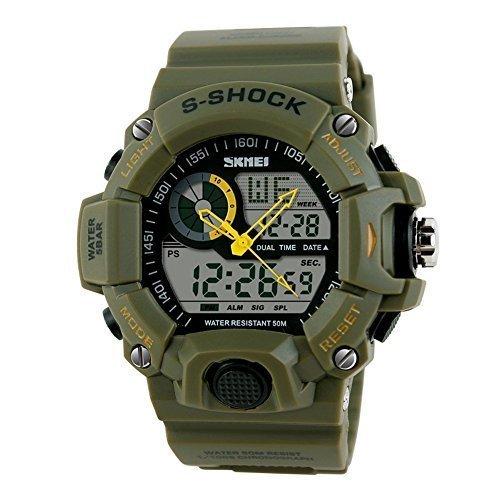 tarshow militari S-Shock orologio sportivo LED digitale 5ATM Impermeabile Allarme (Verde)