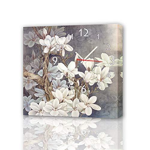 QiXian Moderne Wohnzimmer Esszimmer Dekoration Malerei, Leise Uhr Leinwand Gemälde, Wanduhr, unter Den Blumen, Einschließlich Rahmen, Uhren und Gemälde, 1PCS, 30 * 30 cm (Esszimmer-dekorationen Unter $30)