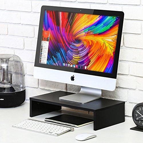 FITUEYES Monitorständer aus Holz 42,5x23,5x10cm schwarz mit Stauraum DT104201MB - 4