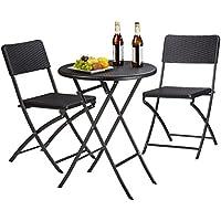 Relaxdays Set muebles de jardín BASTIAN, plegable, 3 partes, óptica ratán, mesa 75,5 x 60 x 60 cm, negro