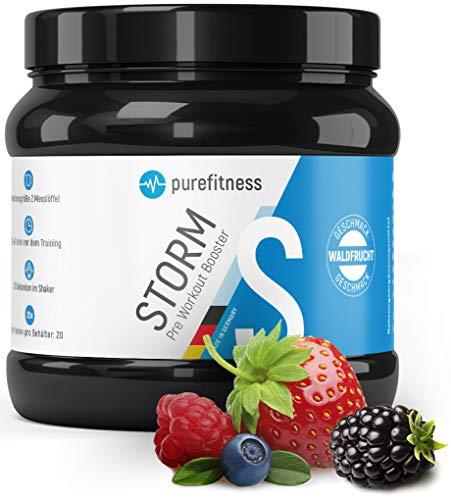 PREMIUM Pre Workout Booster STORM I Hochrein Laborgeprüft & Zertifiziert I Trainingsbooster ohne Chemiekeule mit Waldfrucht Geschmack & Aminosäuren I Ohne Kreatin I Vegan I 300g