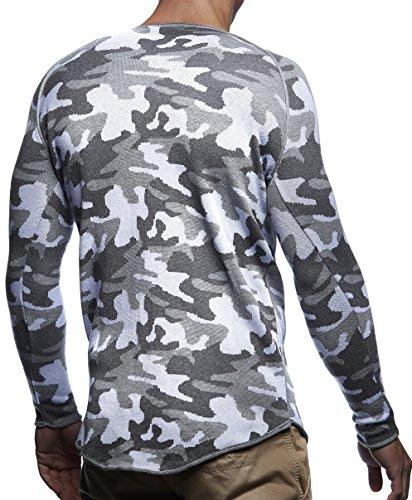 LEIF NELSON Herren Pullover Strickpullover Hoodie Basic Rundhals Crew Neck Sweatshirt langarm Sweater Feinstrick LN20736 Grau